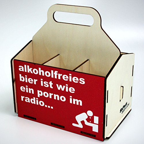 Bierträger aus Holz - SixPack - Fischen - Geschenke für Männer - Grillen - Jagen (Alkoholfreies Bier)