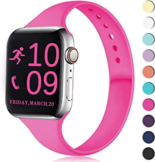Zekapu Sport Band Compatible for Apple Watch 38mm 40mm, Soft Silicone Narrow Slim Sport Replacement Wristband for iWatch Series 5, Series 4, Series 3, Series 2, Series 1 Women, Hot Pink