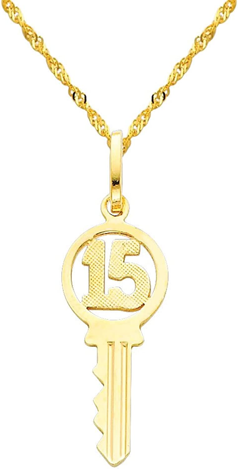 14k Yellow gold Sweet 15 Key Charm Pendant with 1.2mm Singapore Chain Necklace