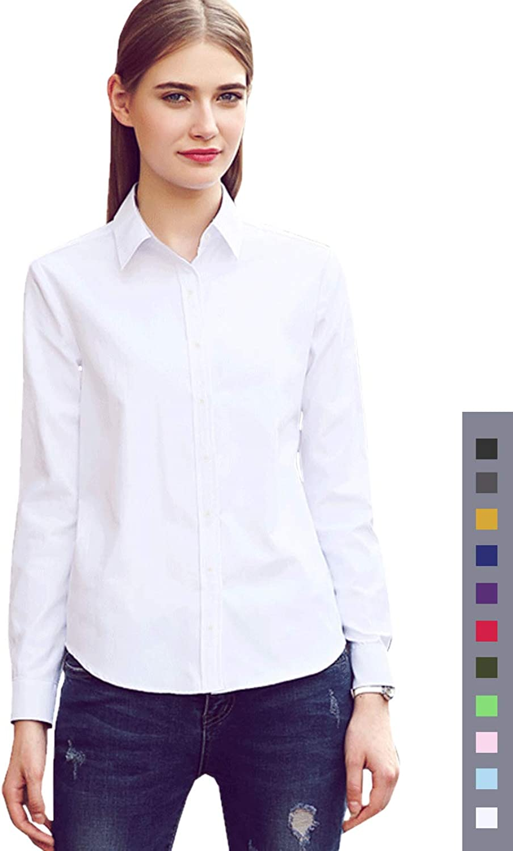 Diig Button Down Shirts for Women  Long Sleeve Women Dress Shirts Work Blouses, XS M 2 XL