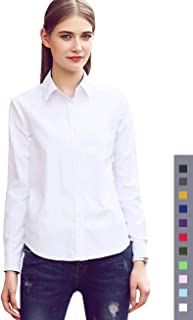 Dress Shirt for Women - Long Sleeve Women Tops Blouses, White Red XS M 2 XL