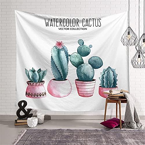 KHKJ Tapiz de Plantas Cactus Colgante de Pared Decoración de la habitación Hojas Dormitorio Tapiz Hippie Tapiz estético de Pared Animales...