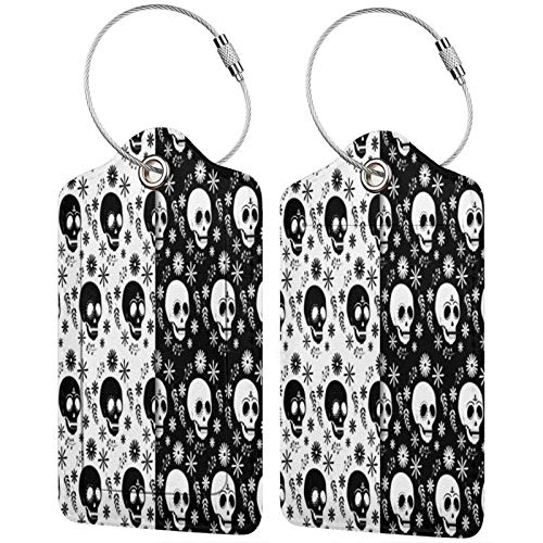 Black and White Skull Pattern Luggage Tags Leather Travel Suitcases Id Identifier Baggage Label Card Holder.