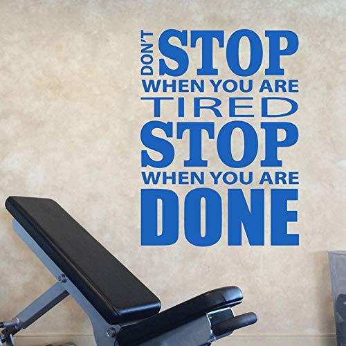 YuanMinglu Gymnastik Dekoration hört Nicht auf Zitat Wandaufkleber Inspirierend Inspirierend Zitat Poster Gym Wanddekoration Fitness 46.5 cm x 63 cm