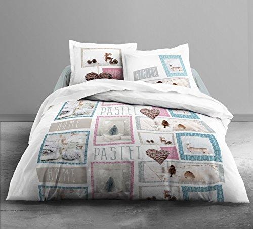 TODAY Parure de lit 2 Personnes Home Pastel : Housse de Couette 220x240 cm + 2 taies d'oreiller 63x63cm, Coton, Blanc/Rose/Bleu, 220x240x1 cm