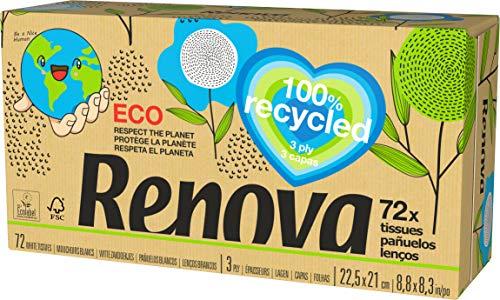 Renova Pañuelos Faciales 100% Recycled - Cajita de 72 pañuelos