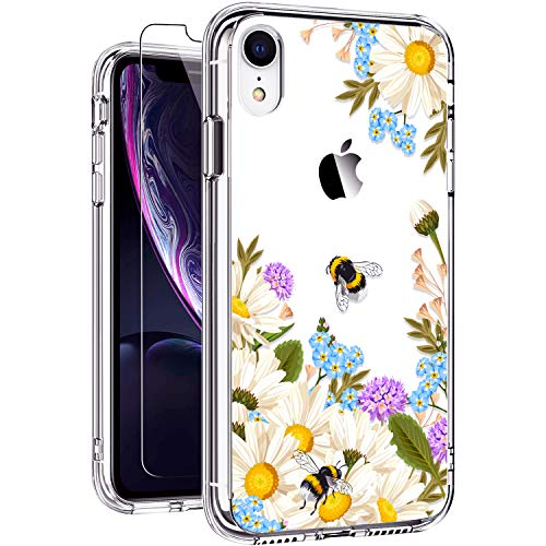GiiKa iPhone XR Cases, iPhone XR Phone Case with Glass Screen Protector, Clear Honeybee Floral Design Ultra-Thin Shockproof Protective for Women Girls iPhone XR 6.1 Inch 2018