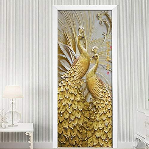 ZWLZJO Adhesivo para puerta con efecto 3D Pavo real animal dorado en relieve 77x200cm Etiqueta De Puerta Poster Autoadhesivo para puerta cocina salón dormitorio cuarto de baño papel pintado pa