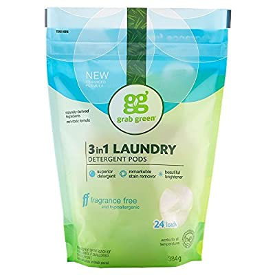 Grab Green Natural 3 in 1 Laundry Detergent Pods, Free & Clear/Unscented, 24 Loads, Fragrance Free, Organic Enzyme-Powered, Plant & Mineral-Based, 13.5 Ounce
