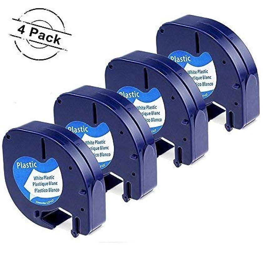 Compatible DYMO LetraTag Refills Label Tape 91331 Black on White Plastic Tape, 12mm x 4m for DYMO LetraTag 100H Plus, 100H, 100T Plus, 100T, QX50, 1/2 Inch x 13 Feet
