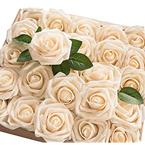 TOPHOUSE 60pcs Artificial Flowers Roses Real Touch Fake Roses for DIY Wedding Bouquets Bridal Shower Party Home Decorations