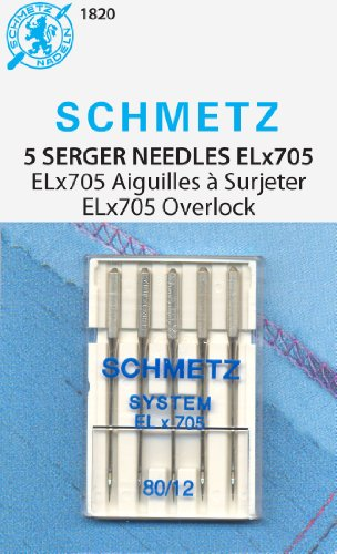 Schmetz - ELx705 Grosor 90/14 para Máquinas de Coser Overlock Remalladoras Domésticas, Pack de 5 Agujas