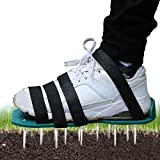 Lawn Aerator Shoes - Manual Lawn Aerators Large with 4 Adjustable Straps and One-Size-Fits-All & Easy Use, Soil Shoes for Garden, Lawn, Yard (Green)