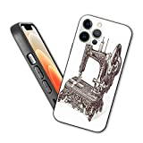 Compatible with iPhone 12 Series Case Vintage Sewing Machine Hand-Drawn Sketch Antique Nostalgic Object Print for iPhone 12 6.1inch (2021)