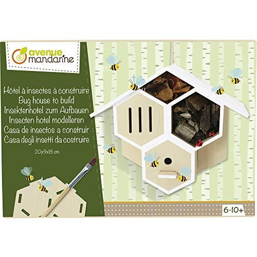 Avenue Mandarine - Kreativ-Set Insektenhotel zum Aufbauen - ab 6 Jahren - Kit kreative Manuelle Tätigkeit, Kollage und Bemalen - Hotel zum Zusammenbauen + Pinsel, Klebstoff und Farbe - CO173C