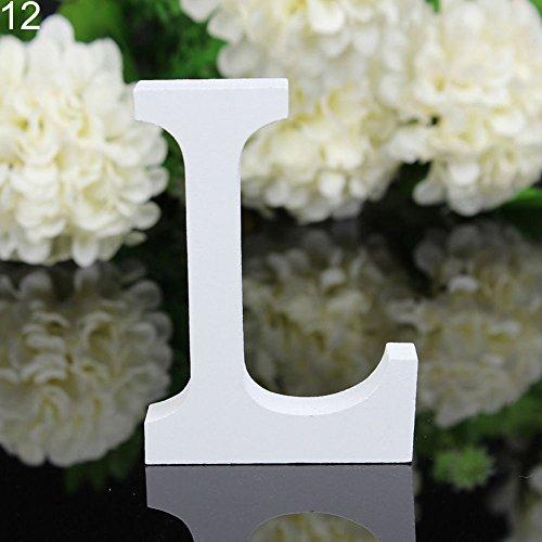 Letras de madera Good01 11 cm x 9,5 cm, alfabeto para decoración de boda, cumpleaños o hogar (grueso), madera, L, 12