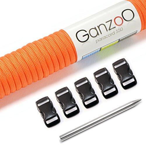 Ganzoo Paracord 550 set, armband, hondenriem of hondenhalsband om zelf te maken; touw met 4 mm dikte, sluiting van kunststof (3/8