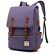 MANCIO Slim Laptop Backpack For women,Man with USB Charging Port For Travel,College,School,Fits up to 15.6Inch in Purple.