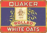 Yilooom Retro Vintage Metal Signs Novelty Wall Plaque Wall Art Decor Accessories Gifts - 1911 Quaker Rolled White Oats - 8' X 12'