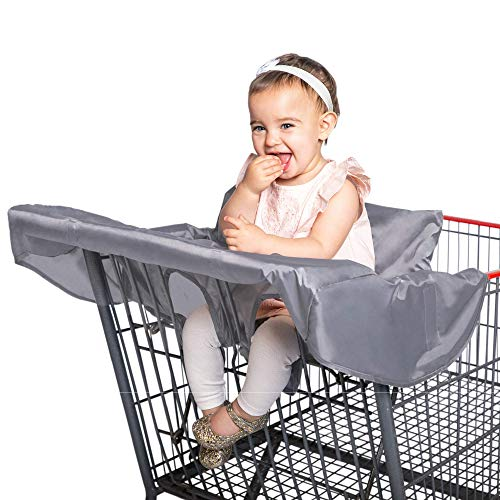 J.L. Childress Healthy Habits by Shopping Cart and High Chair Cover Lightweight Compact Washable Cover to Protect Baby and Toddler, Grey