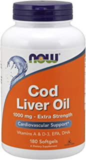 Now Supplements, Cod Liver Oil, Extra Strength 1,000 mg with Vitamins A & D-3, EPA, DHA, 180 Softgels
