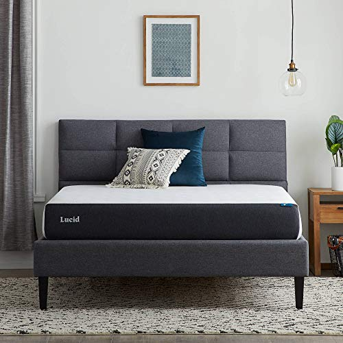 LUCID 8 Inch Memory Foam Plush Feel – Gel Infusion – Hypoallergenic Bamboo Charcoal – Breathable Cover Bed Mattress Conventional, Twin, White