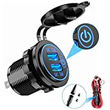 YONHAN Quick Charge 3.0 Dual USB Car Charger with Switch, Waterproof 36W 12V USB Outlet Fast Charger Power Outlet for Marine Boat Motorcycle Truck Golf Cart and More