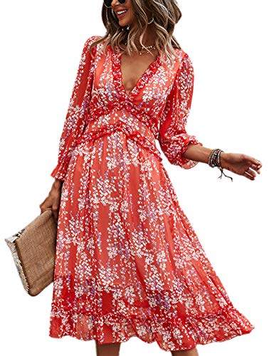 Vestido Mujer Bohemio Largo Verano Playa Fiesta Floral Manga Larga Cuello en V Maxi Vestidos Cóctel Falda Larga Vestido Swing Rojo S