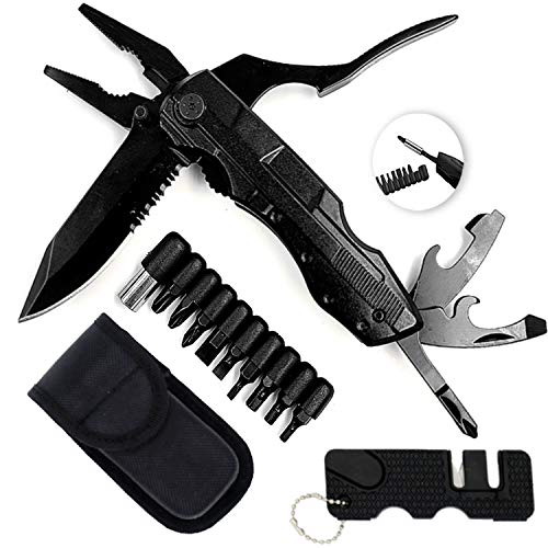 KOOLPUG Multitool Pliers 6-in-1 with Sharpener, Foldable Multi Tool Stainless Steel, Multi-Purpose Pliers with Nylon Pouch Ideal Pocket Tool for Camping, DIY Work, Fishing, Hiking etc