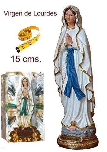 Heraldys.- Figura Virgen de Lourdes 15 cms. en Resina, Pintada a Mano, con Caja Impresa