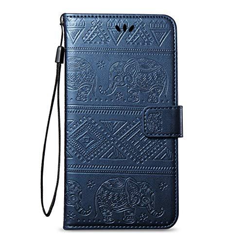 kompatibel mit Huawei Nova 2 Hülle,Huawei Nova 2 Lederhülle,Huawei Nova 2 Schutzhülle Leder Tasche Flip Hülle,Prägung Elefant PU Leder Brieftasche Flip Hülle Kunstleder Wallet Tasche Cover,Blau