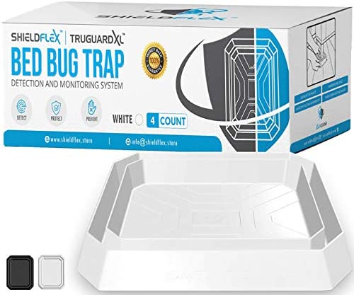 Bed Bug Trap 4 Pack TruGuard XL Bed Bug Interceptors White Extra Large Bed Bug Traps for Bed product image