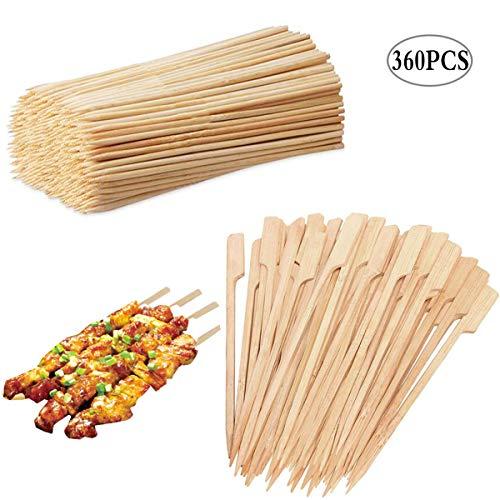 Liuer 360PCS Grillspieße Holz, Schaschlikspieße Holz Maiskolbenhalter Spieße Bambusspieße für Stockbrot,Marshmallows,Bratwürsten Maiskolben