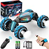RC Stunt Car for Kids, w/ Spray/LED Light/Music, Double Sided 360° Spins 2.4GHz Transformer Remote Control Car Toys, 1:12 4WD Off Road Truck Car for Boys/Adults-Kids Gift Big Monster Blue
