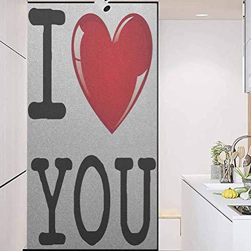 "Anti-UVWindowStickerGlassSticker, I Love You Valentines Message Birthday Best Friends Lo, Home Window Tint Film Heat Control, 17.7"" Wx35.4"" Linches"