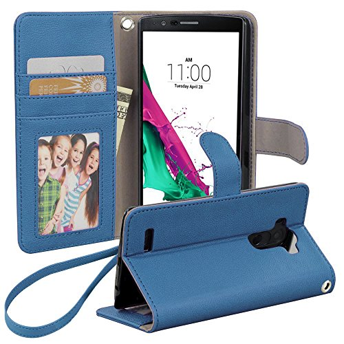 LG G5 Case, BUDDIBOX [Wrist Strap] Premium PU Leather Wallet Case with [Kickstand] Card Holder and ID Slot for LG G5, (Sky Blue)