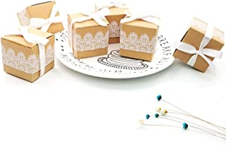 JZK 50 x Lace Kraft Paper Party Favour Boxes Gift Box for Favours, Sweets, Confetti, Small Gifts & Jewelry for Wedding Birthday Baby Shower Holy Communion Christmas