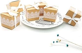 JZK 50 cajas de regalo de boda con cordón de papel kraft caja de regalo favores de boda confeti confeti pequeños regalos y joyas para bodas cumpleaños baby shower santa comunión nav
