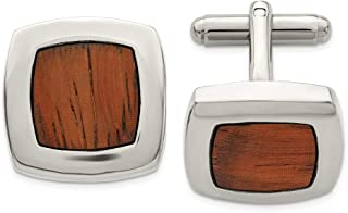 ICE CARATS Stainless Steel Wood Inlay Cufflinks Man Cuff Link Fashion Jewelry Gift for Dad Mens for Him
