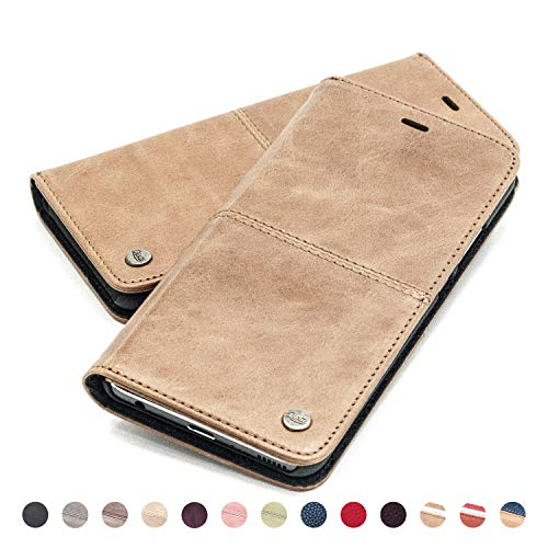 QIOTTI Hülle Kompatibel mit Huawei P20 Ledertasche aus Hochwertigem Leder RFID NFC Schutz mit Kartenfach Standfunktion in Braun