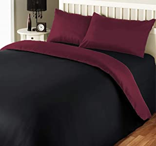 iBed Home 180 TC Two Tone Comforter Set, Black/Maroon, King - 240 x 260 cm, 2BLCKMAR-KING, 6 Pieces
