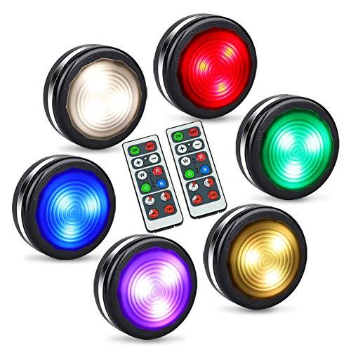 LED Closet Lights, Puck Lights with Remote,Wireless Under Cabinet Lighting, Battery Operated RGB Color Changing Stick On Lights, 16 Colors Night Light with Dimmer & Timing Function (6 Pack)