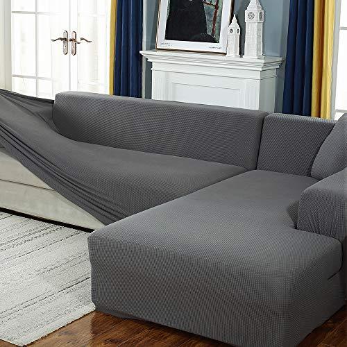 Housse de Canapé d'angle avec Accoudoirs Housse de Canapé Modèle L Canapé Protecteur Extensible(Le canapé d'angle en L Doit en Acheter Deux)