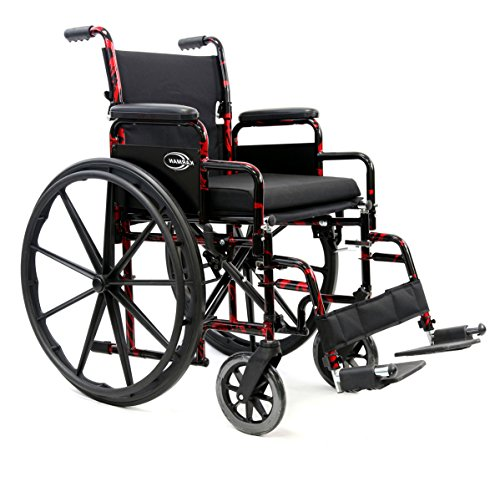 Karman LT-770Q-E Lightweight Removable Wheelchair with Elevating Legrest, Red Streak, 18