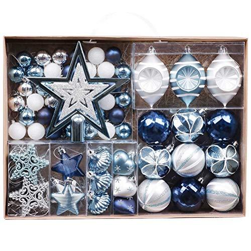 Valery Madelyn 70 Piezas Bolas de Navidad de 3-6 cm, Adornos Navideños para Arbol, Decoración de Navidad Inastillable Plástico de Azul y Plata, Regalos de Colgantes de Navidad (Deseos de Invierno)