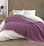Belle Living Hitit Tagesdecke Überwurf Decke - Wohndecke hochwertig - perfekt für Bett & Sofa, 100prozent Baumwolle - handgefertigte Fransen, 200x250cm (Weinrot)