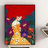 5D-DIY- Pintura de diamanteb Flores nórdicas, retrato de niña moderna, pintura artística, pintura decorativa Niños de pintura de diamante de jardín de bricolaje Pintura de dia30x45cm(Sin marco)