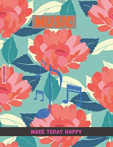 Music Notebook for piano, Floral seamless pattern retro styl