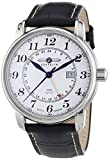 Zeppelin Second Time Zone GMT Black Leather Strap Watch with Date Function
