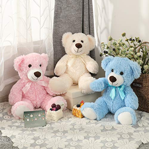 DOLDOA Cute Teddy Bear Stuffed Animal Soft Plush Bear Toy for Kids Boys Girls,as a Gift for Birthday/Christmas/Valentine's Day 13.8 inch (3 Packs,3 Colors)
